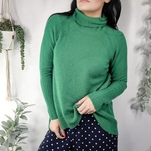 HALOGEN High Low Oversize Wool sweater green 0952